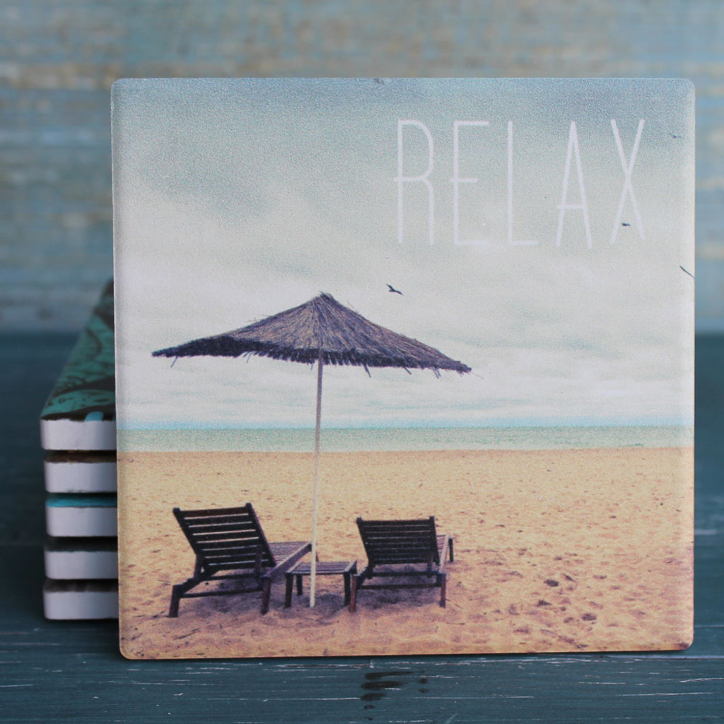 Relax - Chairs & Umbrella on the Beach Coaster