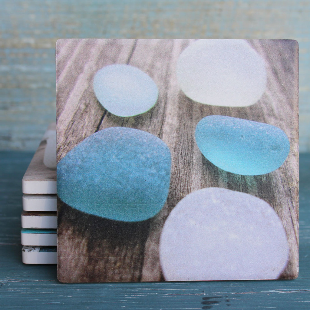 Seaglass on Wood Coaster