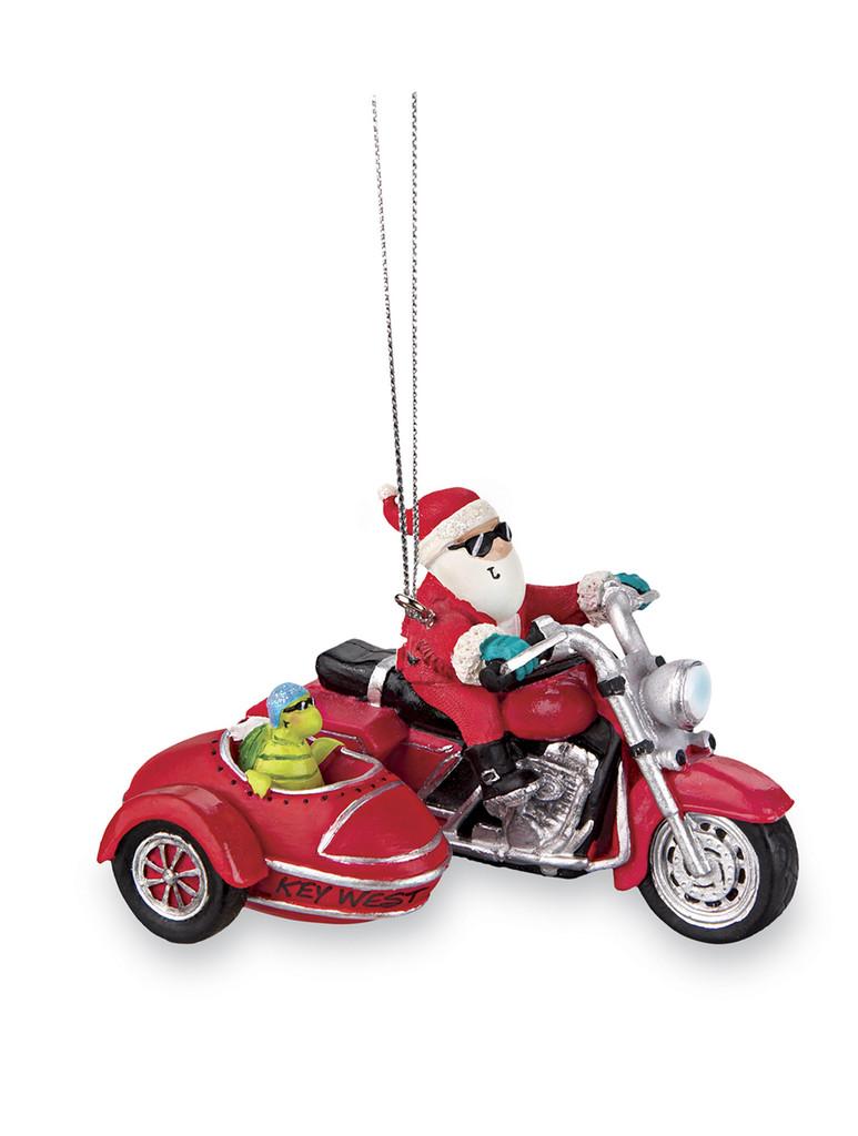 Santa & Turtle Motorcycle Ornament