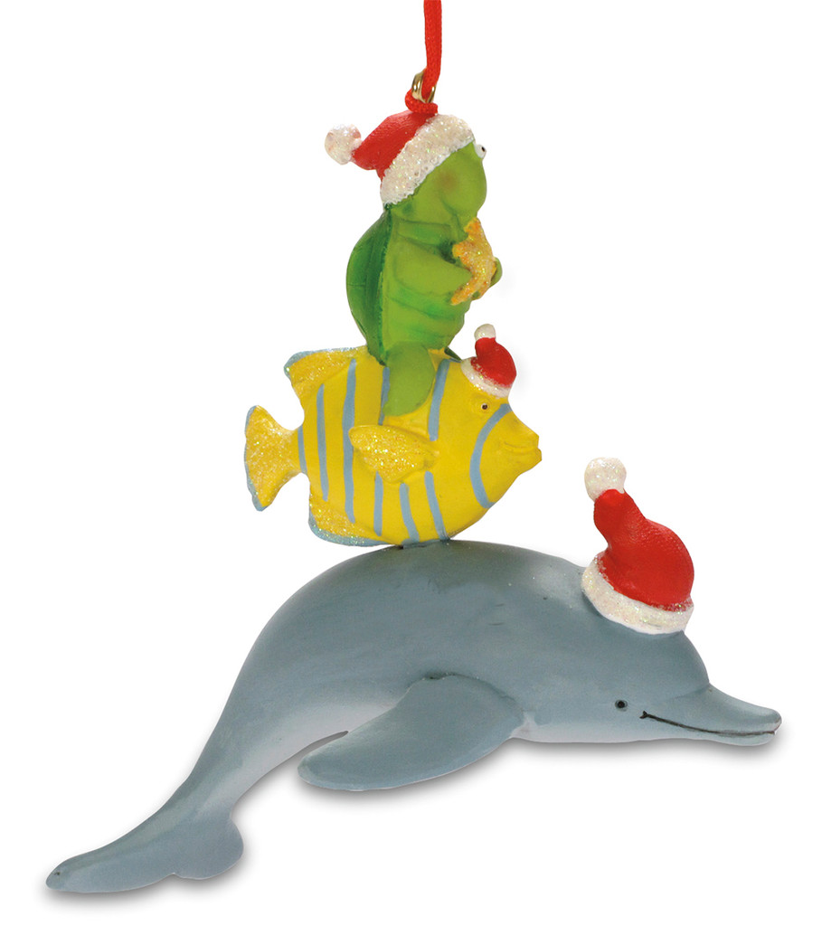 Dolphin with Turtle and Fish Ornament