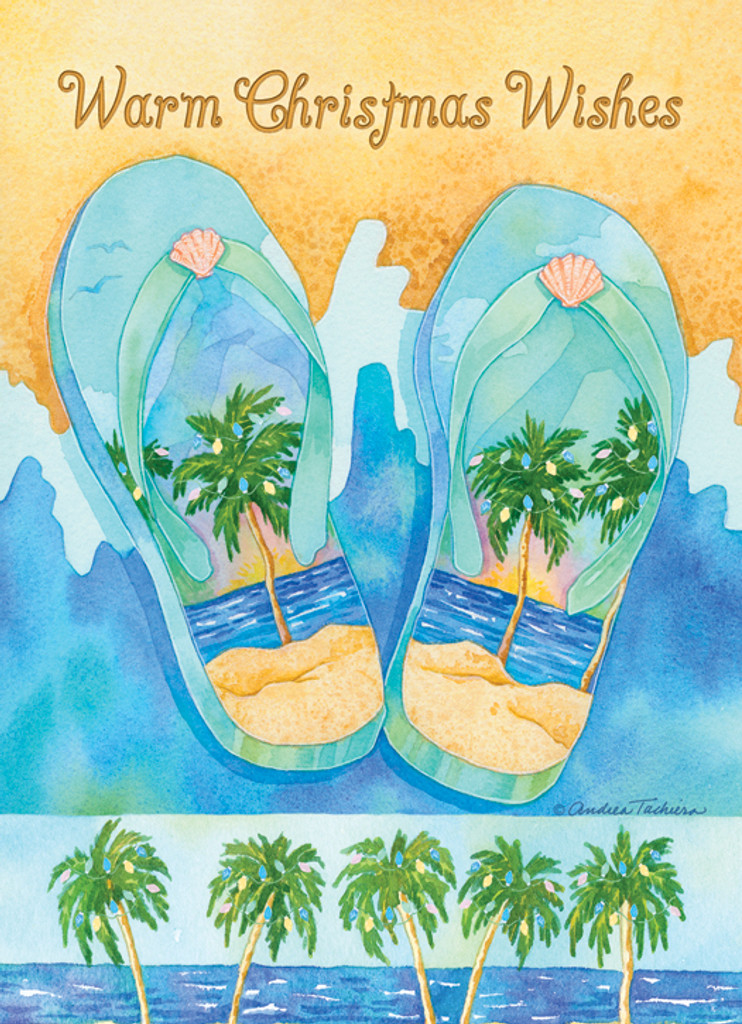 Palm Tree Flip Flops Holiday Cards Coastal Christmas Stationery