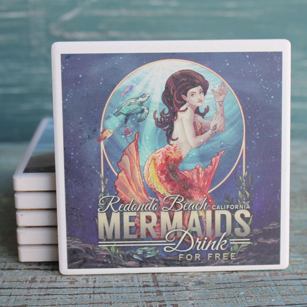 Redondo Beach Mermaids Drink Free Coaster