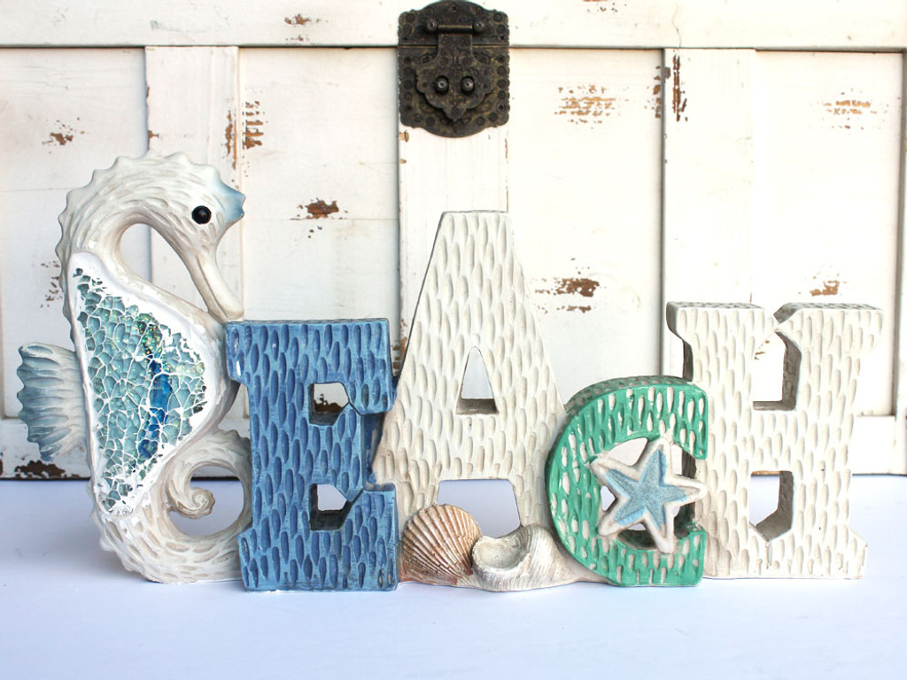 Seahorse Beach Table Top Sign with Crushed Glass