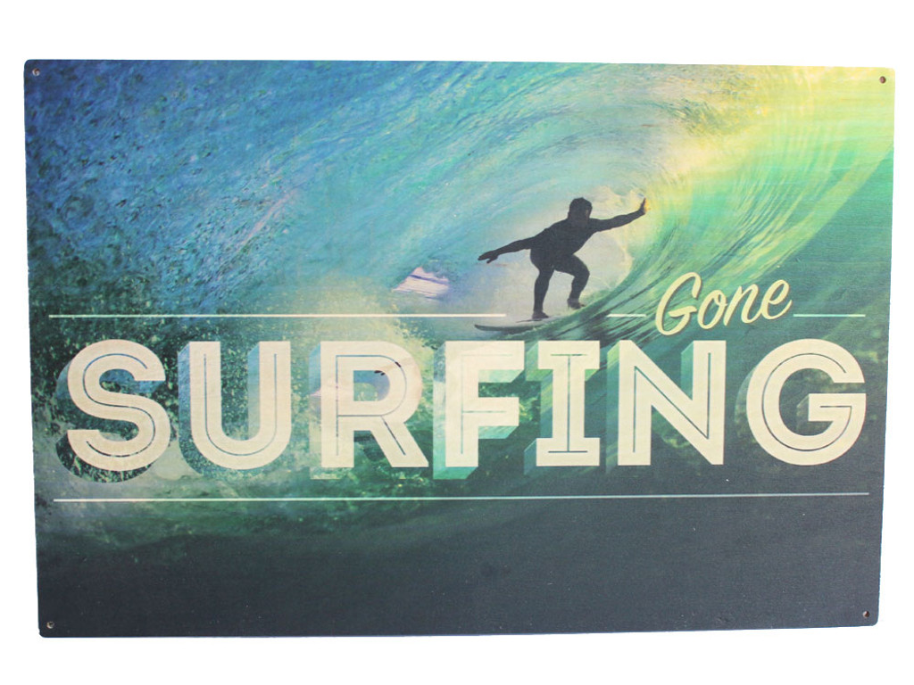 Surfing Wood Sign
