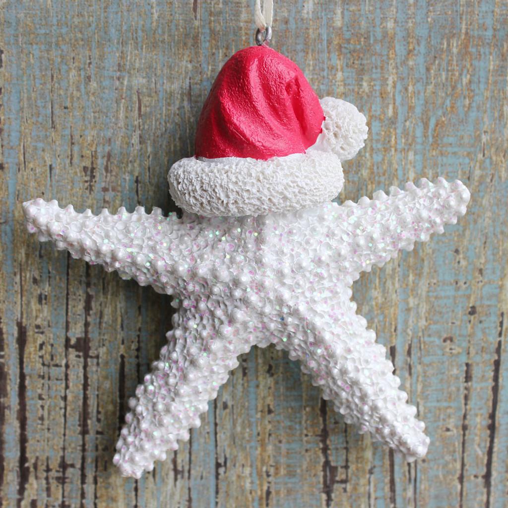 White Santa Starfish Ornament