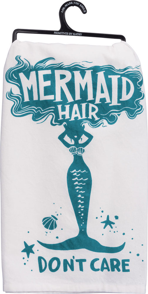 Mermaid Hair Don't Care Cotton Tea Towel