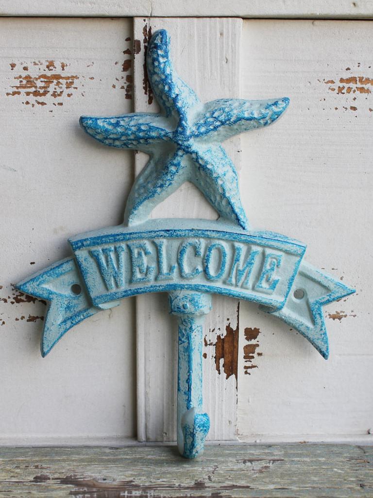 Blue Starfish Welcome Iron Hook