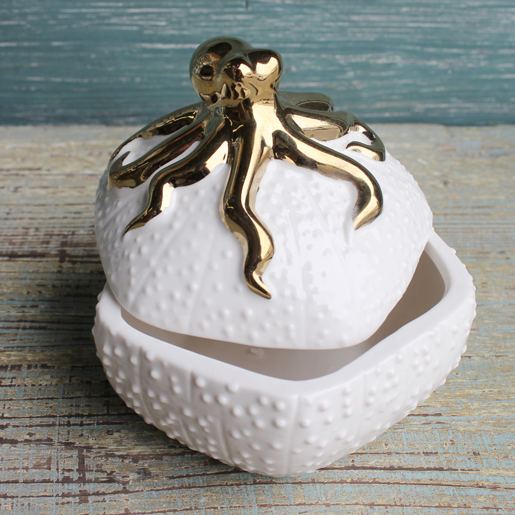 Ceramic White and Gold Octopus Box