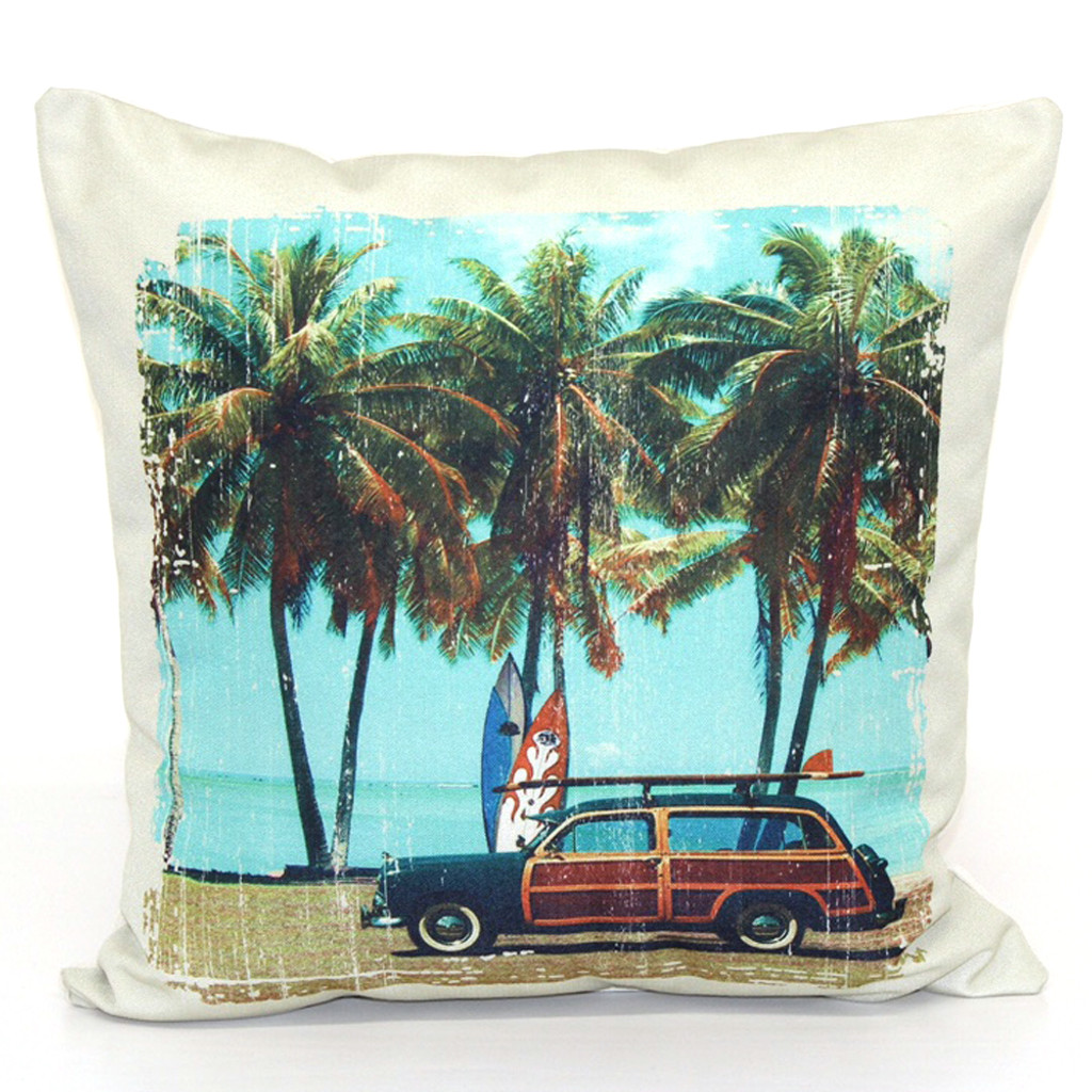 Woody and Palm Trees Throw Pillow