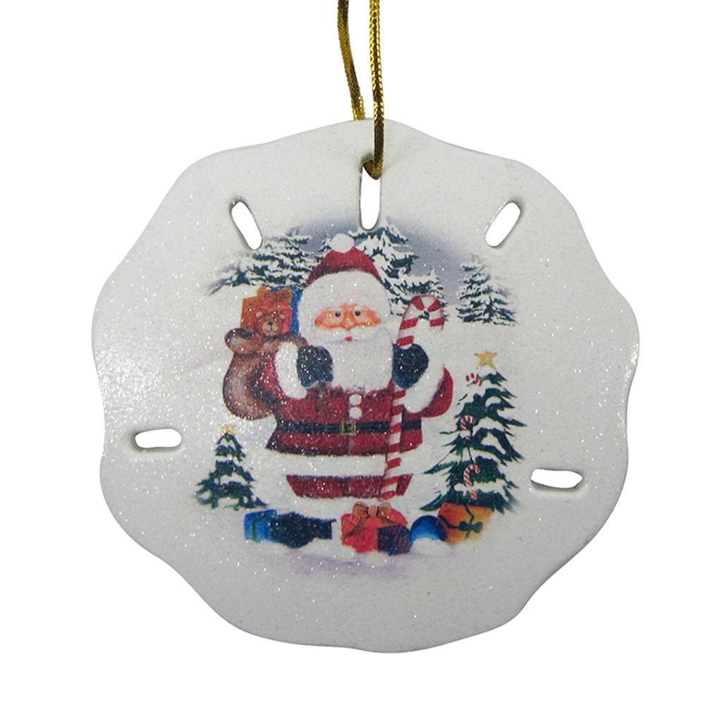 Santa Scene Sand Dollar Ornament