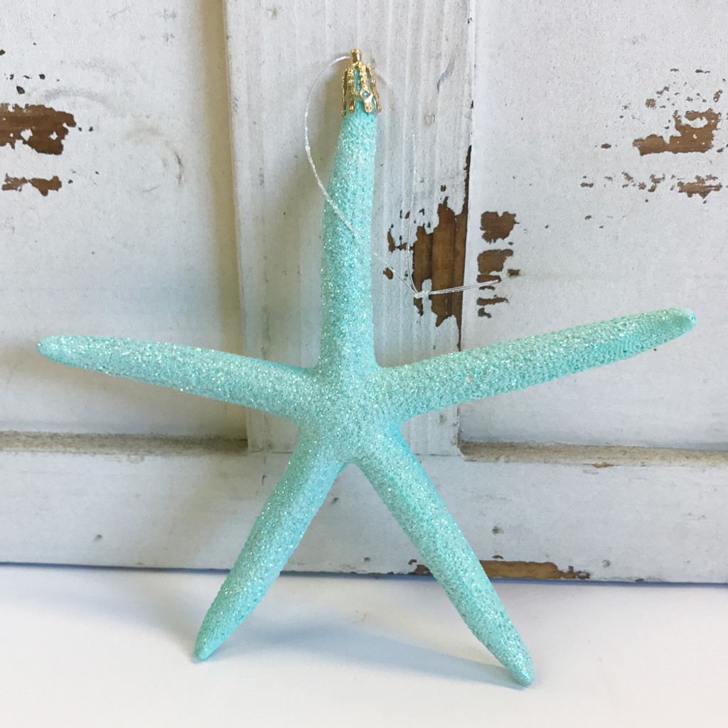 Large Aqua Finger Starfish Glitter Ornament