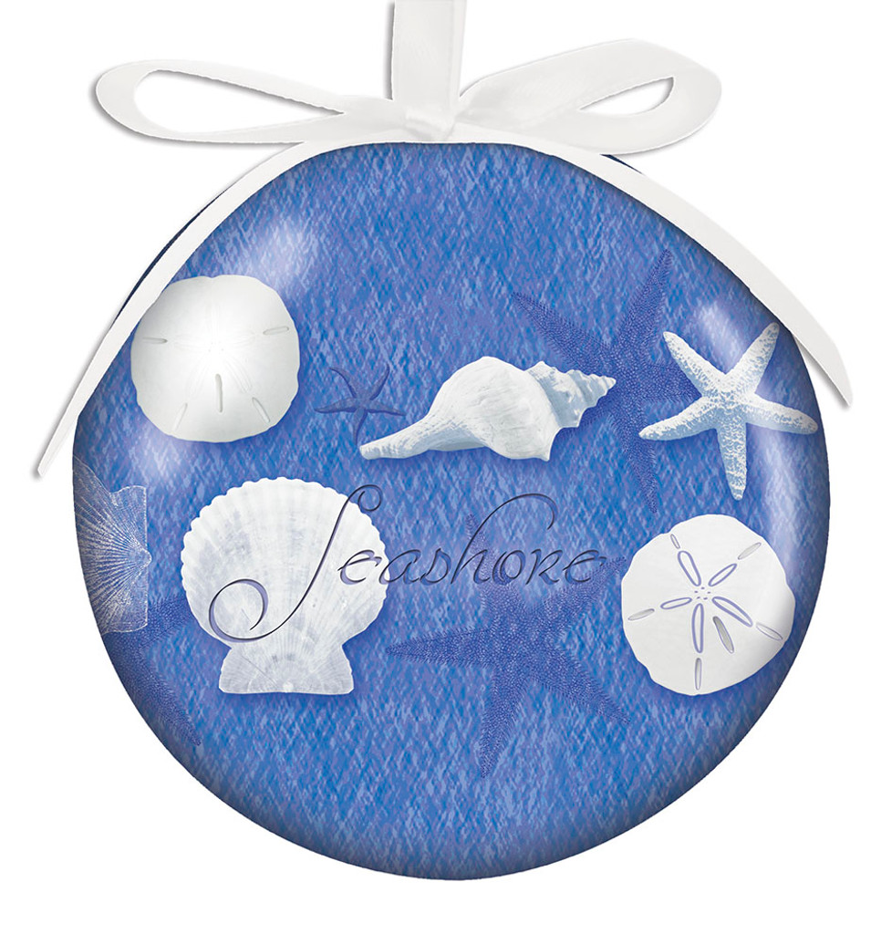 Blue Water Shells Ball Ornament