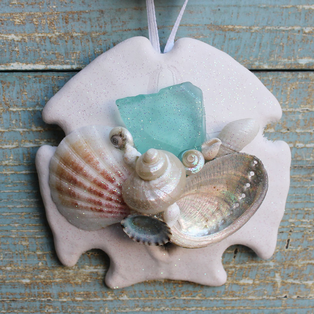 Teal Sea Glass Sand Dollar Collage Ornament