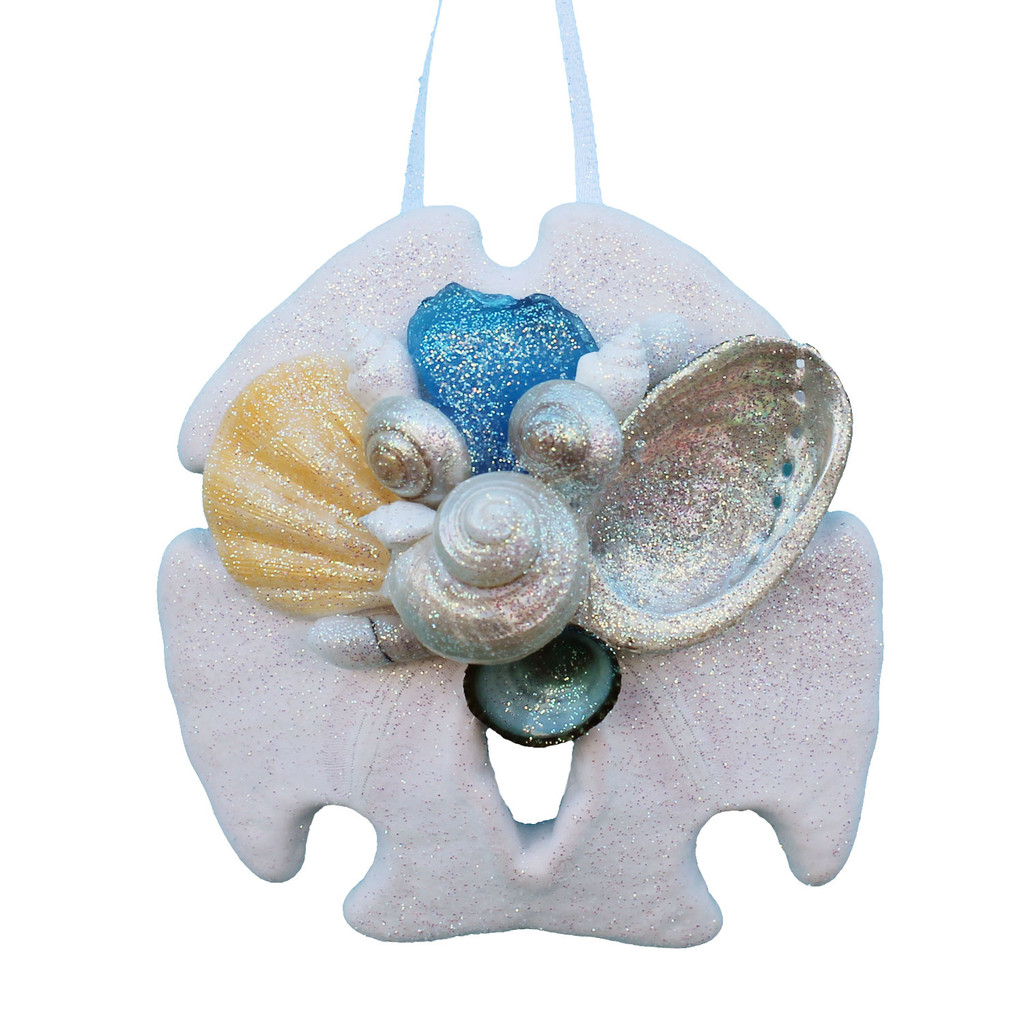 Light Blue Sea Glass Sand Dollar Ornament