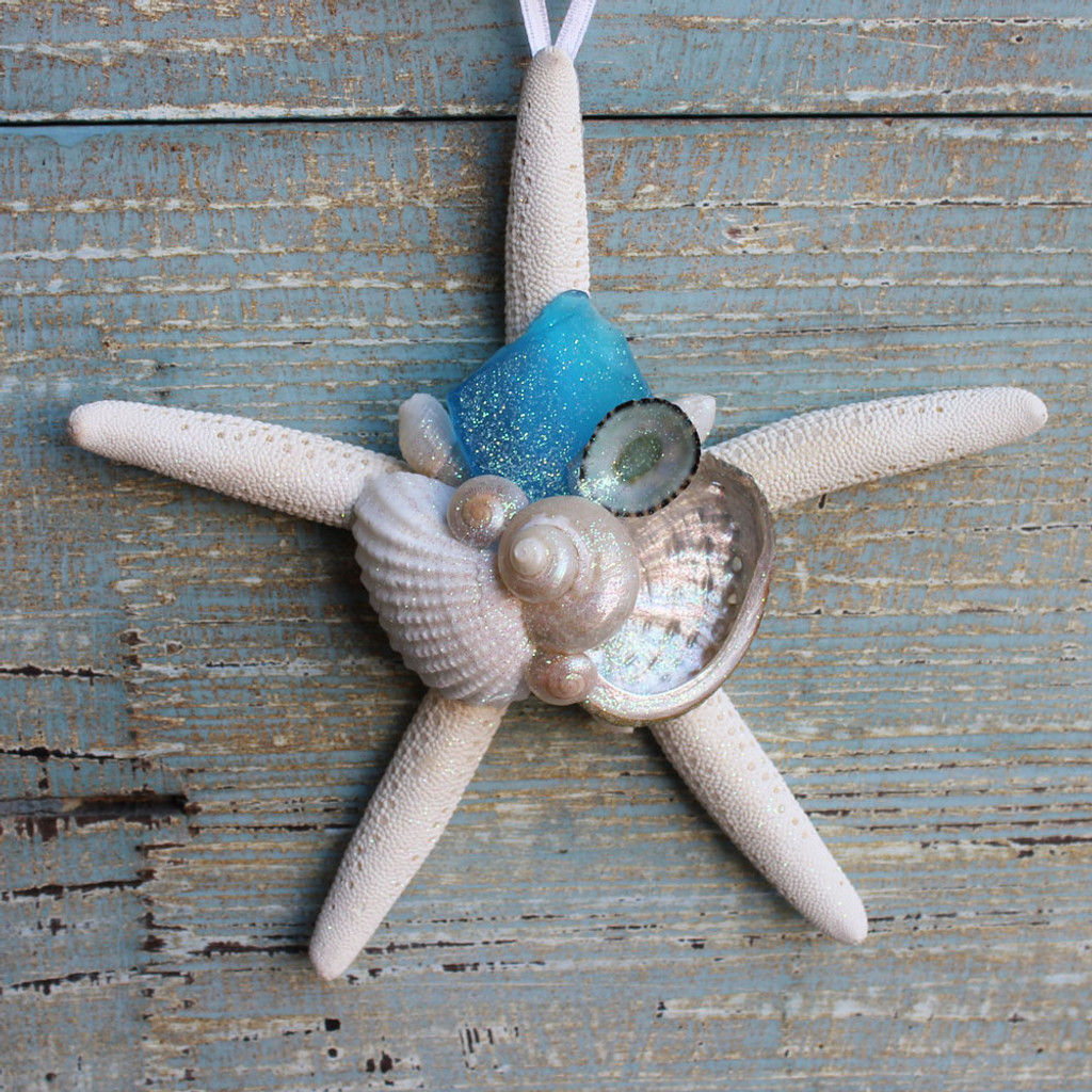 White Finger Starfish Collage Ornament with Light Blue Sea Glass