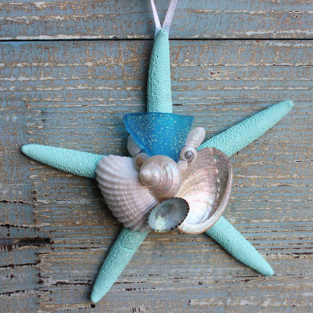 Light Blue Sea Glass on an Aqua Starfish Ornament