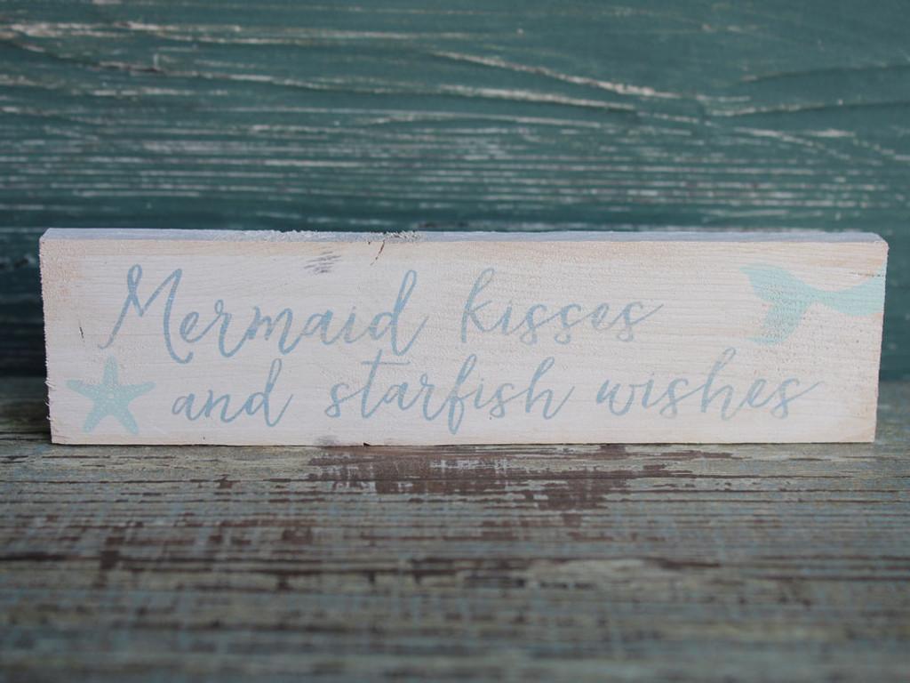 Mermaid Kisses & Starfish Wishes small wood sign