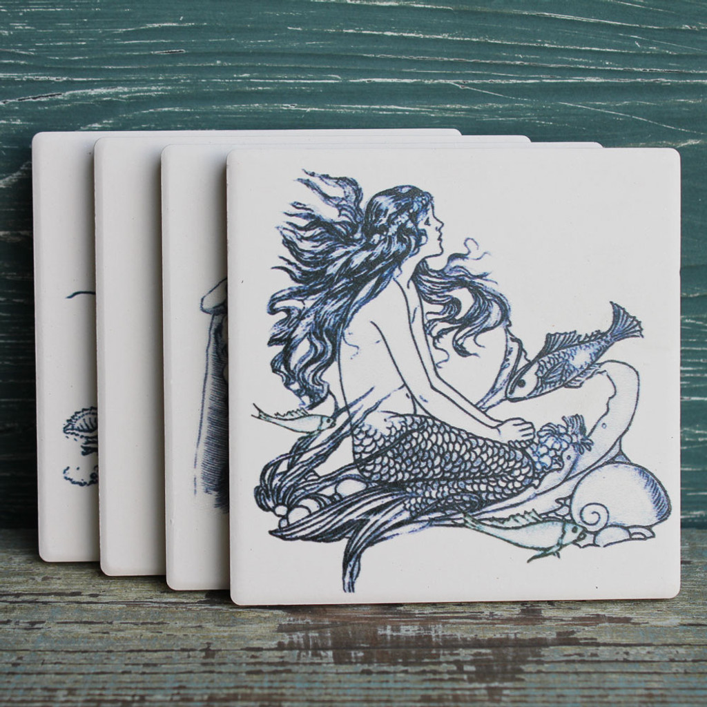 4 Assorted Mermaid Coasters