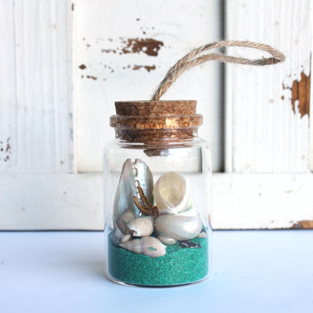 Starfish Beach Bottle Ornament with Aqua Sand