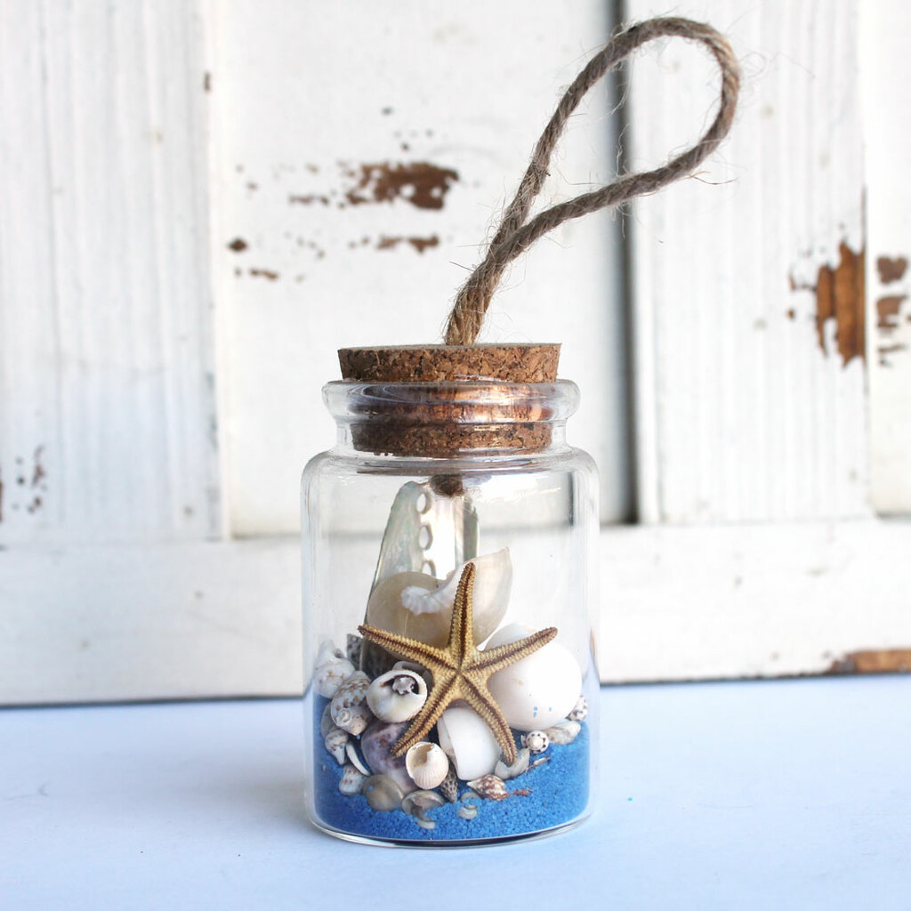Starfish Beach Bottle Ornament with Cobalt Blue Sand