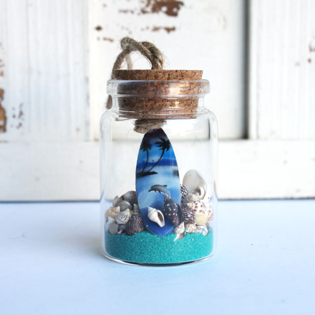 Color Surfboard Beach Bottle Ornament with Ocean Blue Sand