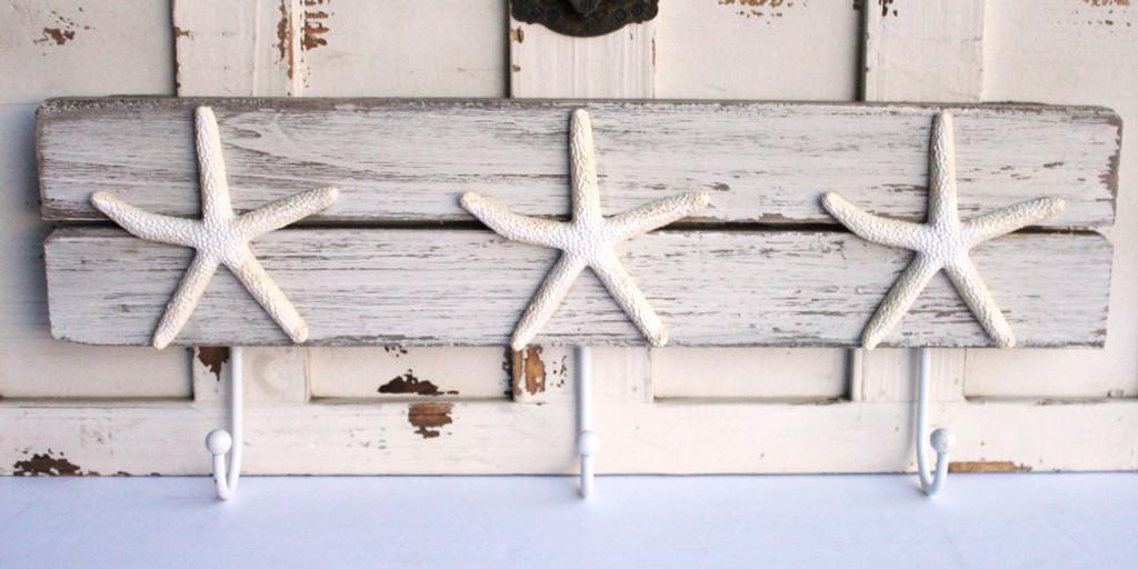 Triple White Starfish Wall Hook