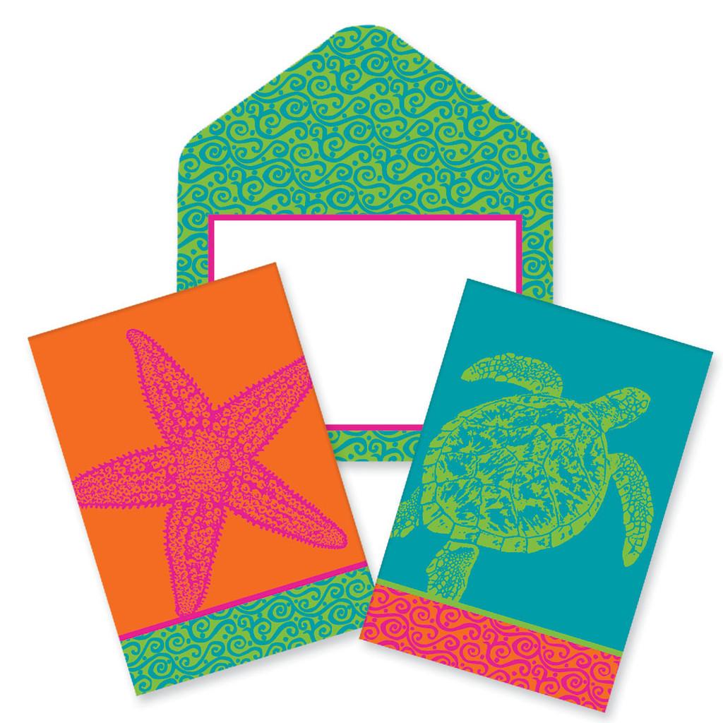 Coastal Color - Starfish & Sea Turtle Notecards
