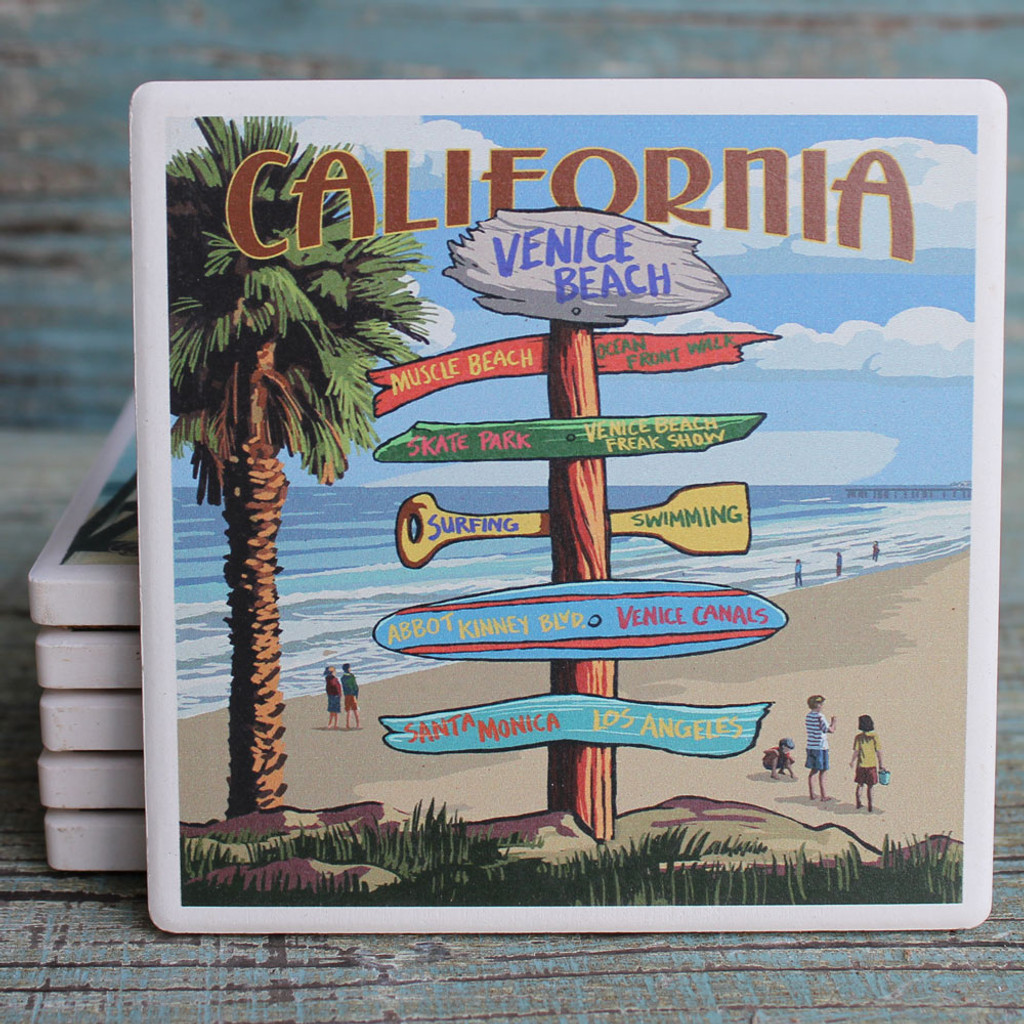 Venice Beach Destination Sign Coaster