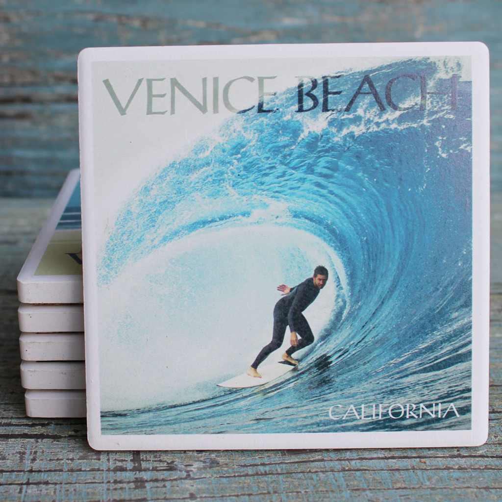 Surfer in the Perfect Wave Venice Coaster