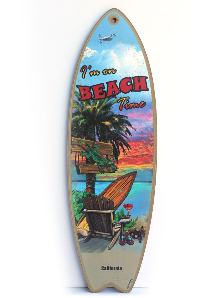 Beach Time Surfboard Sign
