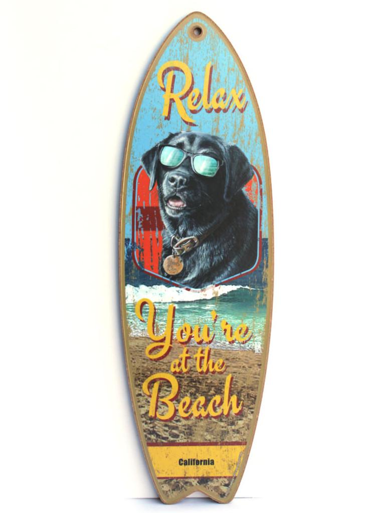 Beach Dog Surfboard Sign