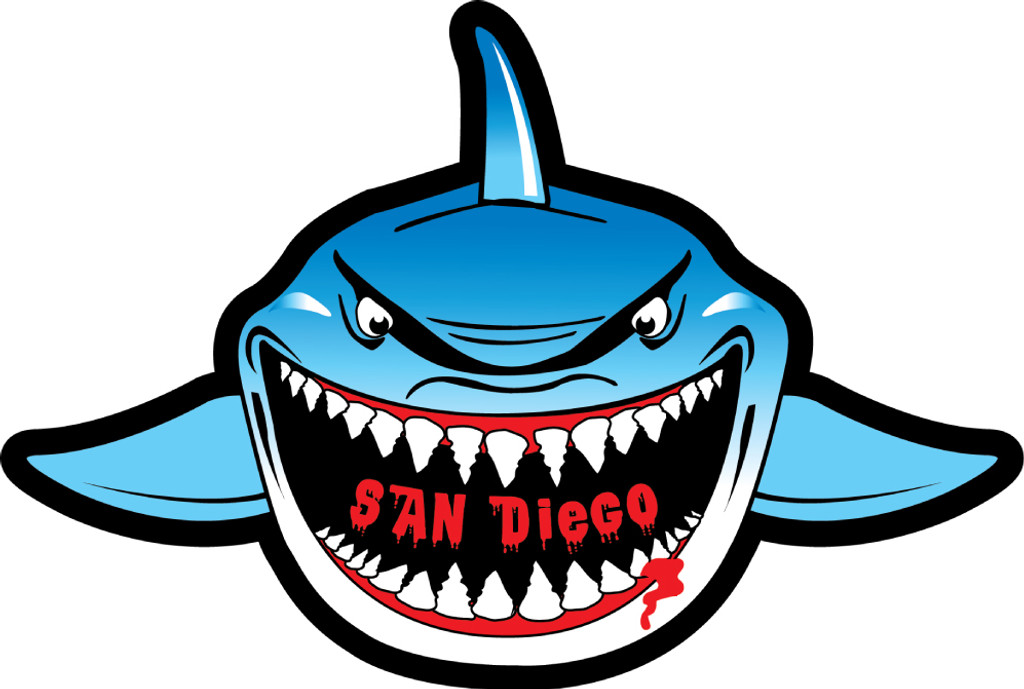 San Diego Shark Front View Sticker 1 Dozen