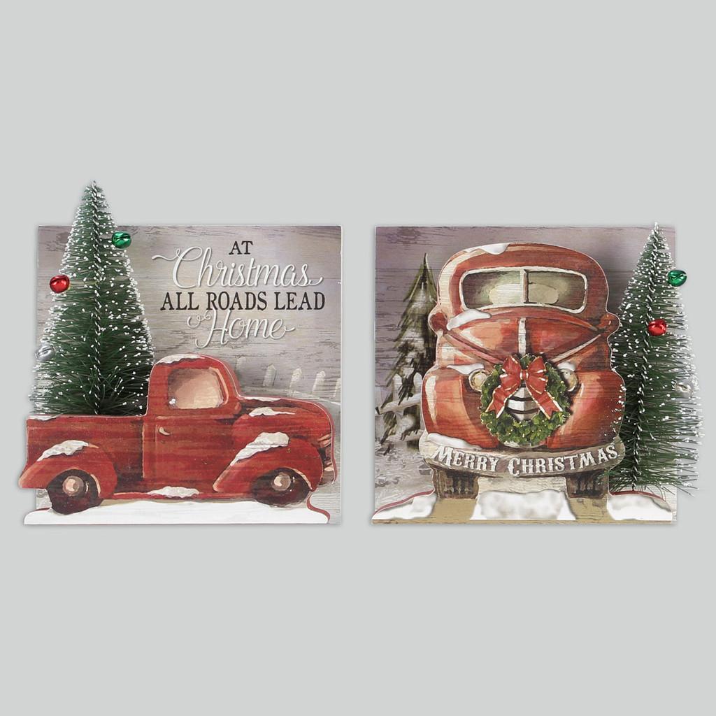 Wood Winter Trucks Signs - Set of 2