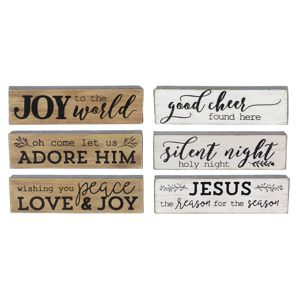 Small Wood Christmas Sign Joy Set