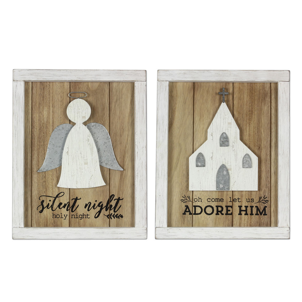 Wood Religious Christmas Sign - Set of 2