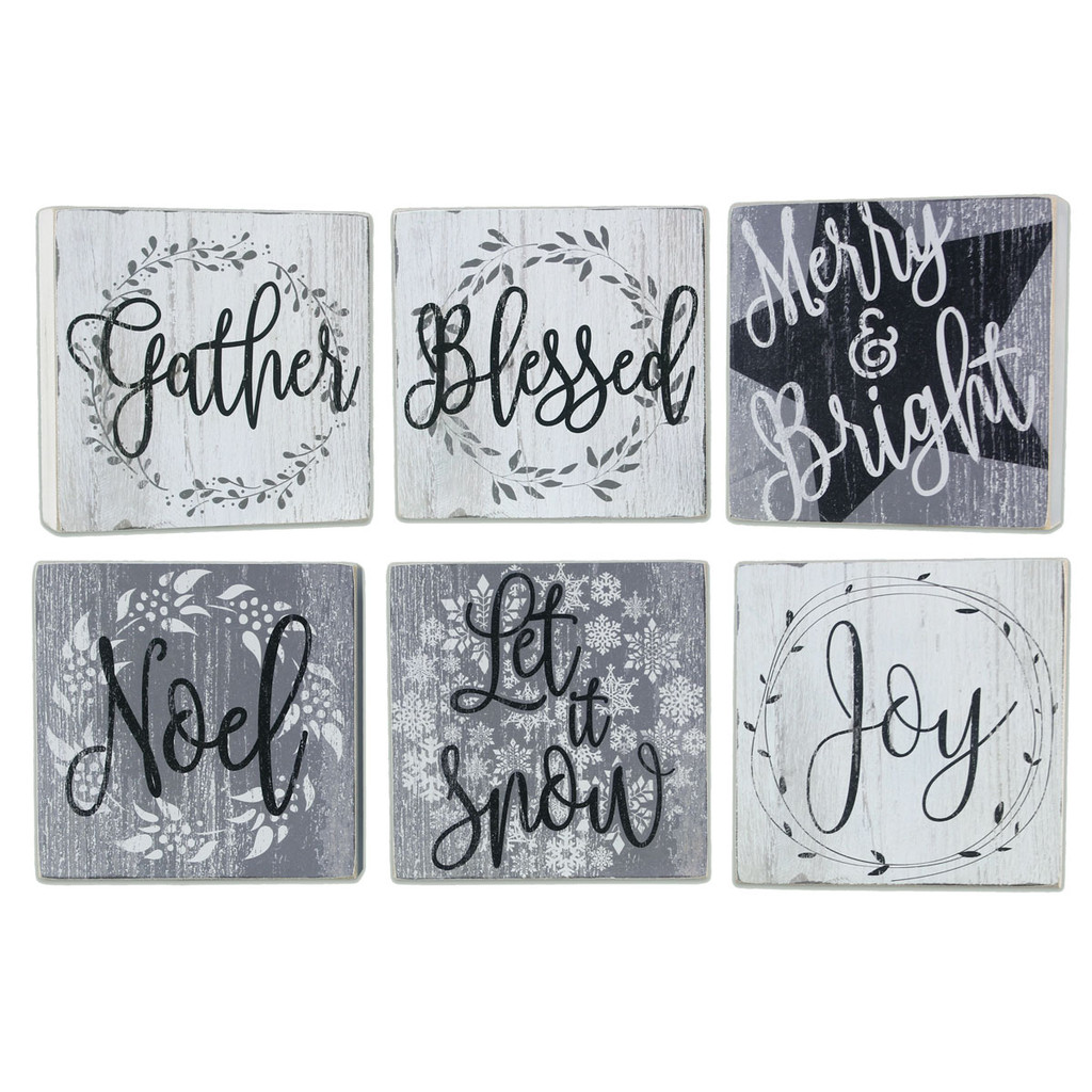 Square Christmas Signs - Set of 6