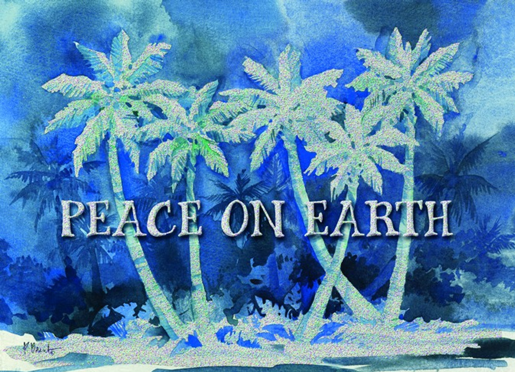 Peace on Earth Blue Palms Christmas Cards