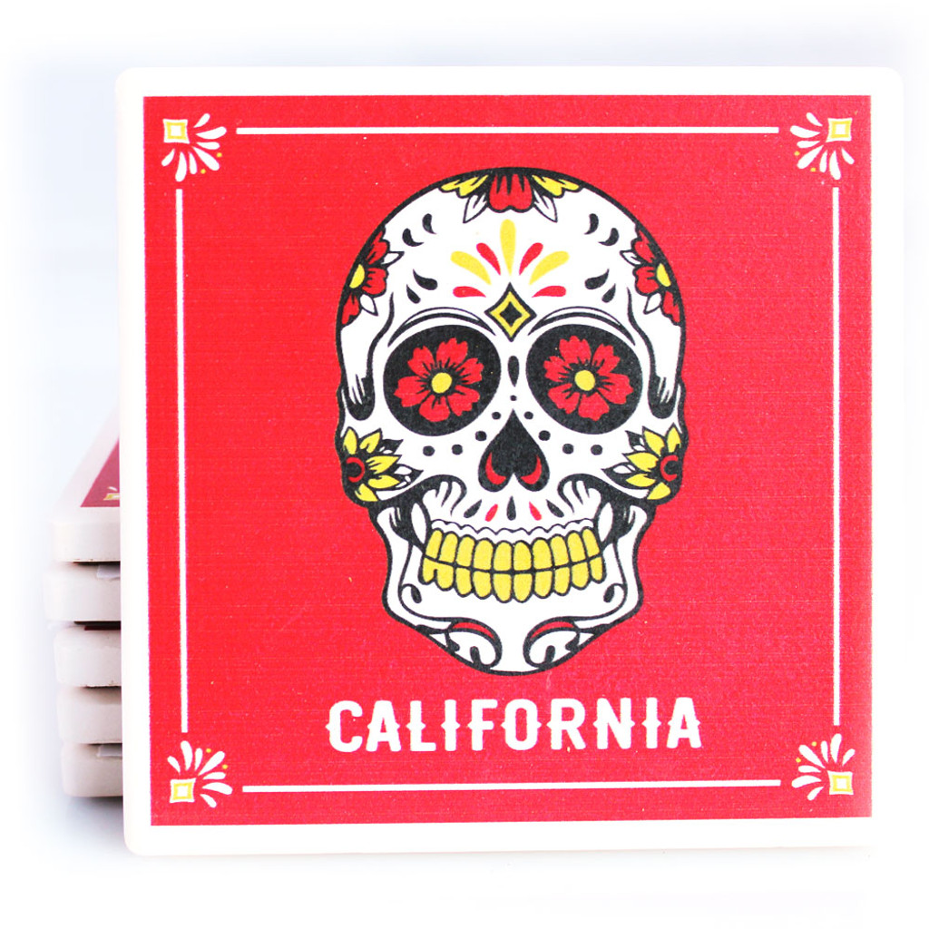 Red Sugar Skull California Coaster