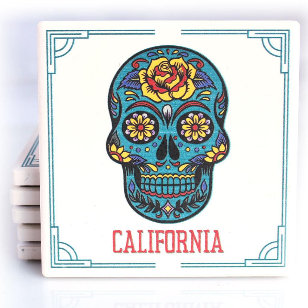 Blue Sugar Skull California Coaster