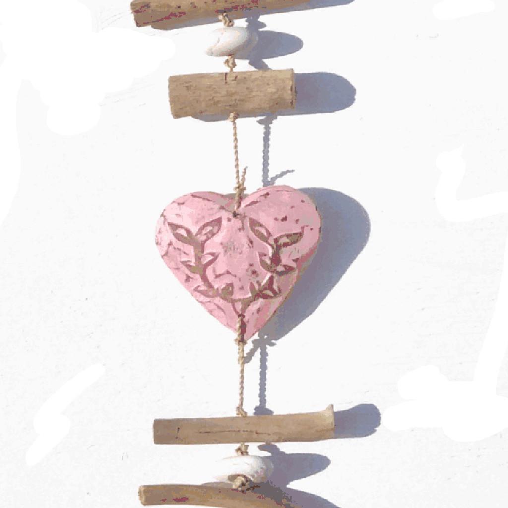 Pink Wood Heart Strand