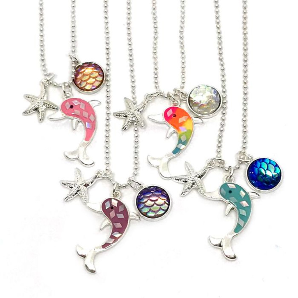 Dolphin Starfish Rhinestone Necklace