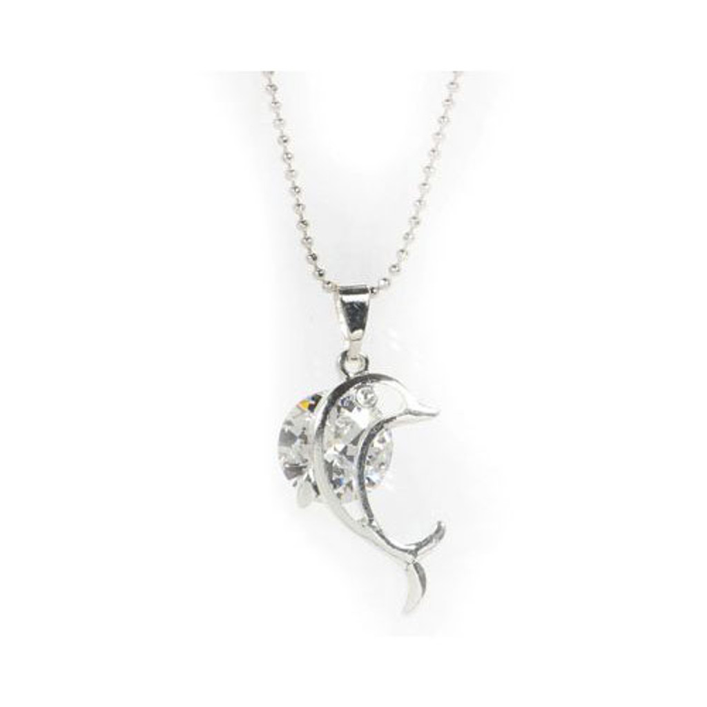 Rhinestone Dolphin Necklace
