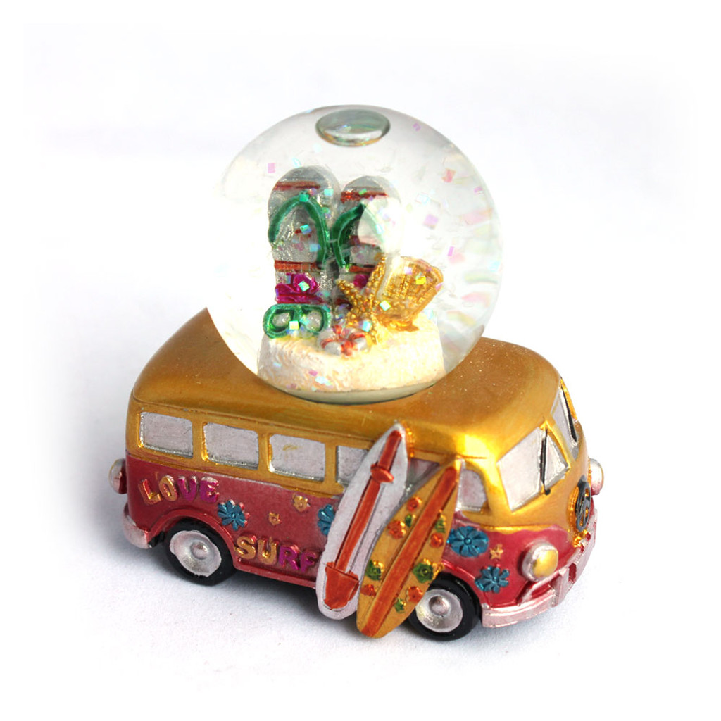 Mini Gold VW Bus Flip Flops Snow Globe