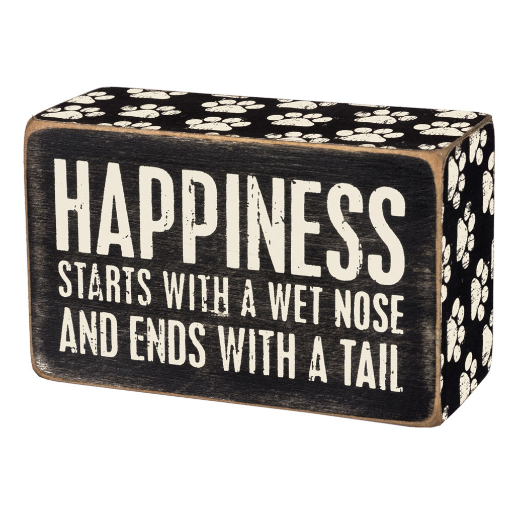 Happiness Starts Box Sign
