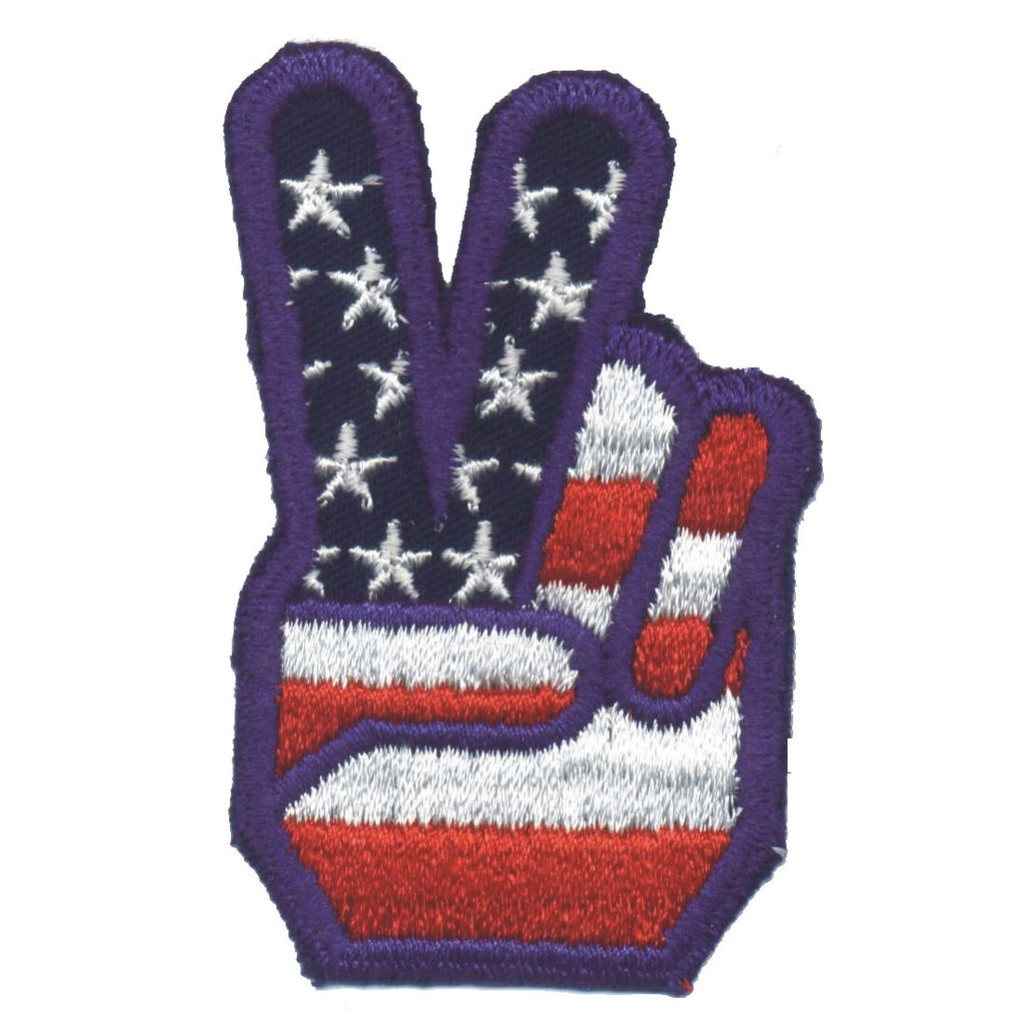 US Peace Sign Fingers Patch