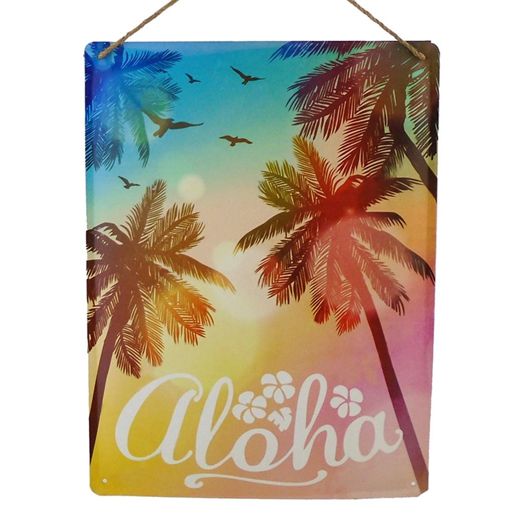 Aloha Palm Tree Metal Sign