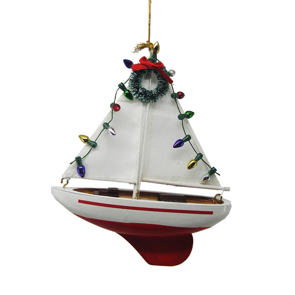 Christmas Sail Boat Ornament