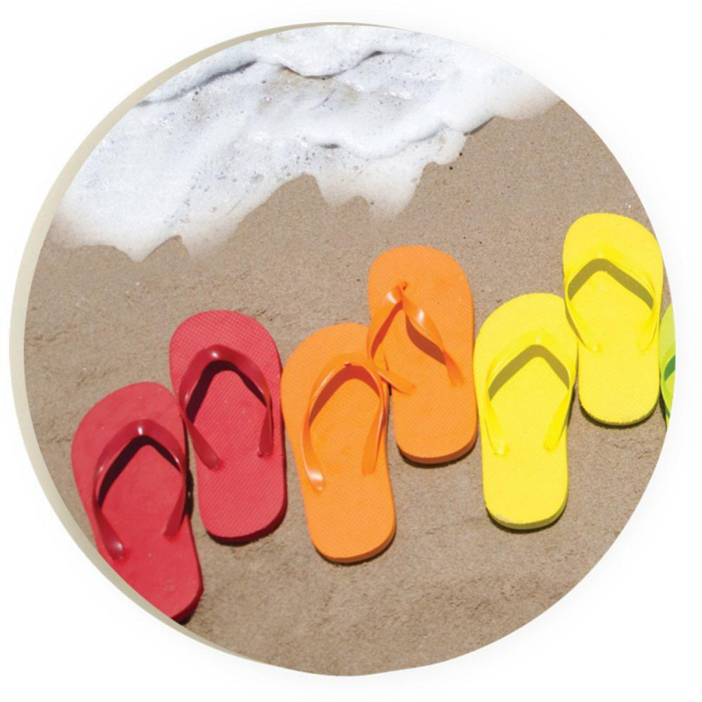Colorful Flip Flops Car Coaster