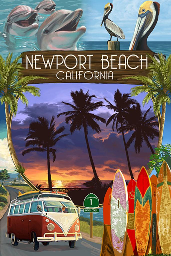 Newport Beach Montage Car Coaster