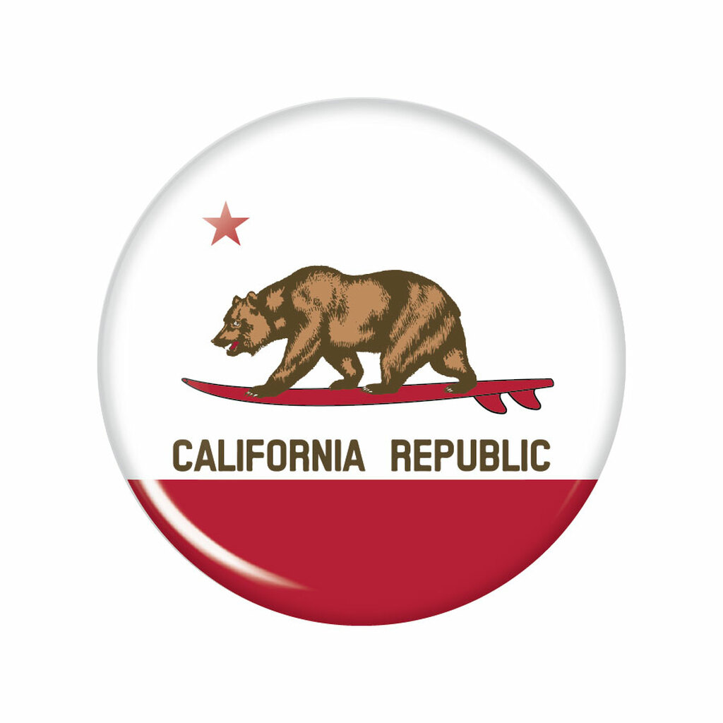 Surfin' California Republic Button Magnet